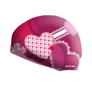 Children swimming cap Spokey STYLO Junior pink heart, Spokey