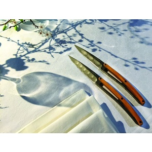 Deejo set 6 steak knives, titanium surface blades, olive wood, design 'Art Déco' 2FB012, Deejo